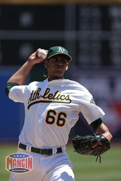 OAKLAND, CA - MAY 9:  Tyson Ross #66 of the Oakland Athletics pitches against the Toronto Blue Jays during the game at O.co Coliseum on Wednesday May 9, 2012 in Oakland, California. Photo by Brad Mangin