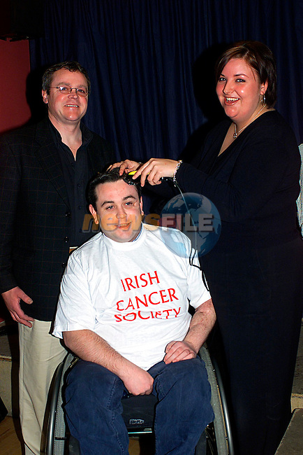 Martin Hubble,Juile Hardy and Ciaran Taffe at the Head Shave in Slane...Pic Tony Campbell/Newsfile