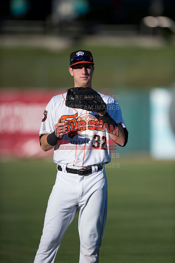 Fresno Grizzlies outfielder Kyle Tucker (32) warms up before a Pacific Coast League game against the Salt Lake Bees at Chukchansi Park on May 14, 2018 in Fresno, California. Fresno defeated Salt Lake 4-3. (Zachary Lucy/Four Seam Images)