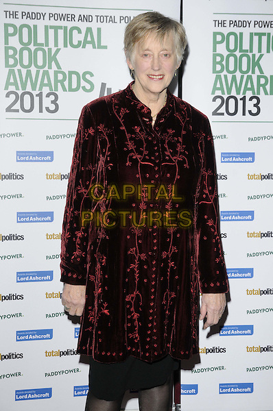 Dame Stella Rimington.The Paddy Power & Total Politics Political Book Awards 2013, BFI Imax, Charlie Chaplin Walk, London, England..February 6th, 2013.half length black red velvet coat.CAP/CAN.©Can Nguyen/Capital Pictures.