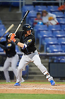 Akron RubberDucks third baseman Eric Stamets (12) at bat during a game against the Binghamton Rumble Ponies on May 12, 2017 at NYSEG Stadium in Binghamton, New York.  Akron defeated Binghamton 5-1.  (Mike Janes/Four Seam Images)