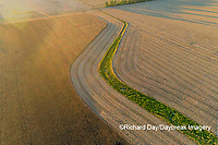 63801-13114 Partially harvested corn field in fall-aerial  Marion Co. IL