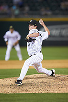 Charlotte Knights starting pitcher Jordan Stephens (27) in action against the Toledo Mud Hens at BB&T BallPark on April 24, 2019 in Charlotte, North Carolina. The Knights defeated the Mud Hens 9-6. (Brian Westerholt/Four Seam Images)