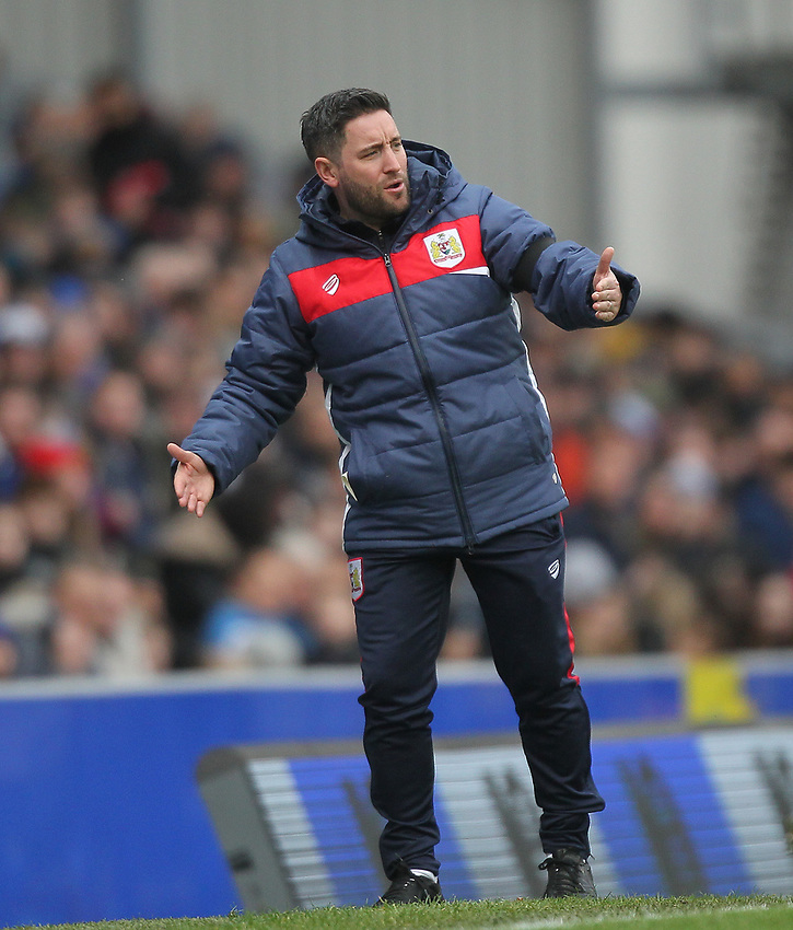 Bristol City's Manager Lee Johnson  <br /> <br /> Photographer Mick Walker/CameraSport<br /> <br /> The EFL Sky Bet Championship - Blackburn Rovers v Bristol City - Saturday 9th February 2019 - Ewood Park - Blackburn<br /> <br /> World Copyright © 2019 CameraSport. All rights reserved. 43 Linden Ave. Countesthorpe. Leicester. England. LE8 5PG - Tel: +44 (0) 116 277 4147 - admin@camerasport.com - www.camerasport.com