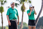 HOWEY IN THE HILLS, FL - MAY 11: Coach Tom Inczauskis and Briana Morris from the Methodist University Monarchs women's golf team check the eye up the green before teeing off during Division III Women's Golf Championship. The Claremont Mudd Scripps won the team and individual (Margaret Loncki) First Place Championships during the Division III Women's Golf Championship held at the Mission Inn Resort & Club on May 11, 2018 in Howey-In-The-Hills, Florida. (Photo by Matt Marriott/NCAA Photos via Getty Images)