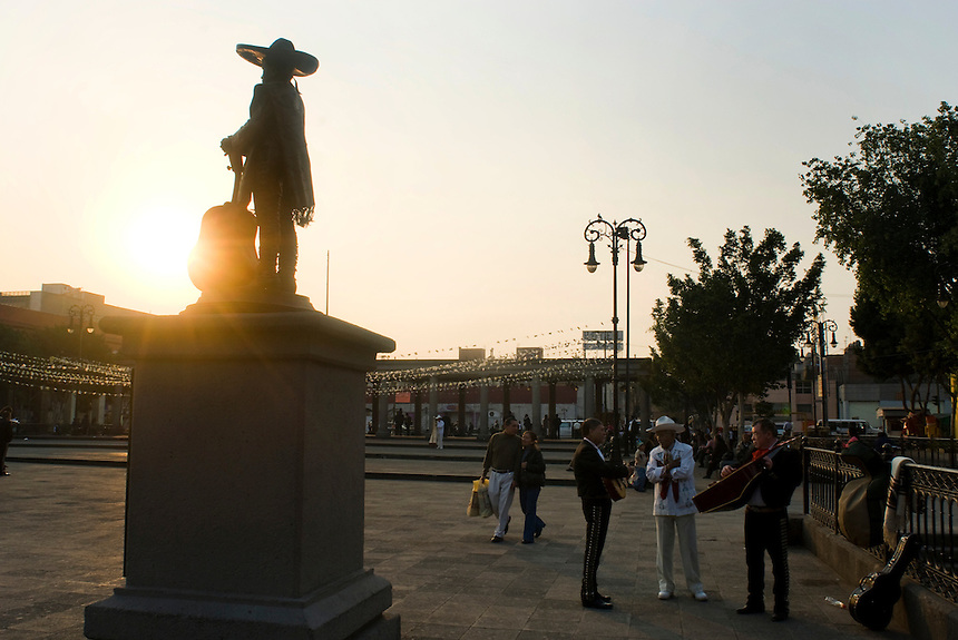 Statues of famous Mariachis line the edges of Plaza Garibaldi where Mariachis gather to be hired in Mexico City, Friday, Jan. 4, 2008