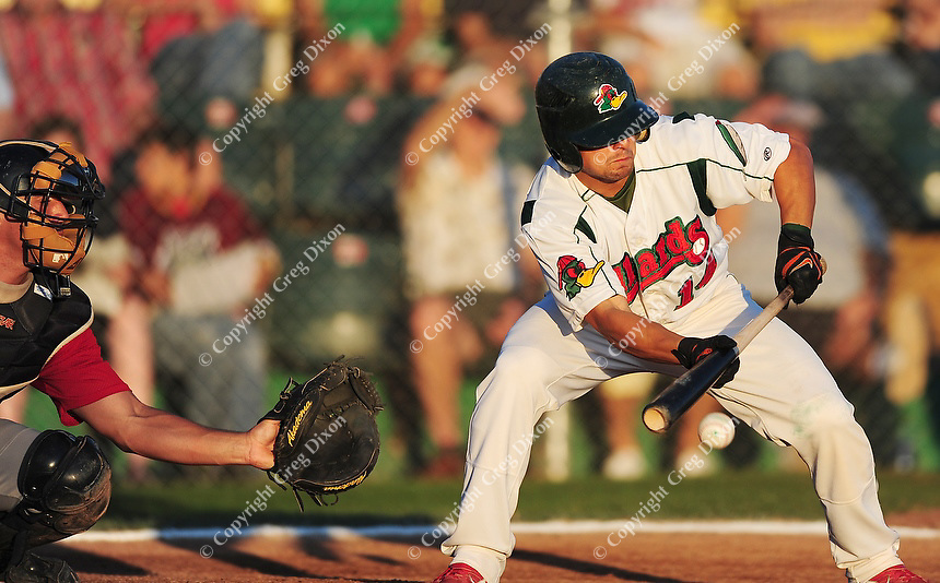 Joe Bonadonna attempts a bunt during the Mallards' game against Thunder Bay Friday night. Neither team gets much going on offense, and the Mallards lose 1-0 to the Border Cats.