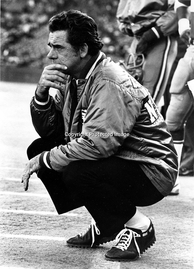 San Francisco 49er head coack Dick Nolan on the sideline in 1974. (photo by Ron Riesterer)