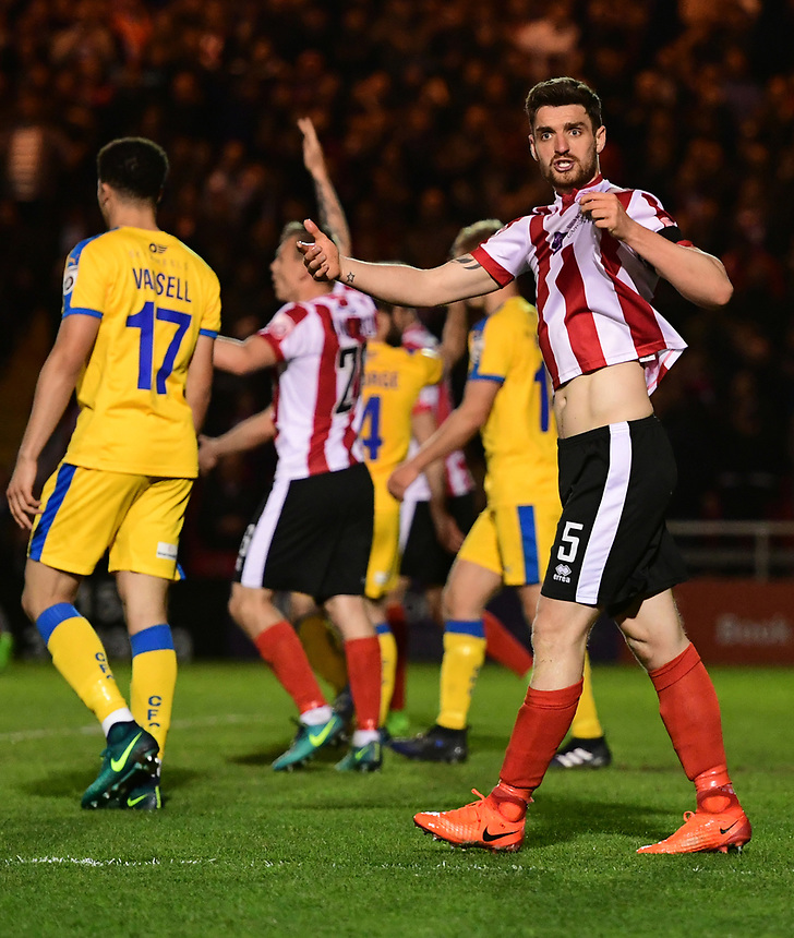 Lincoln City's Luke Waterfall appeals for a decision from the match officials<br /> <br /> Photographer Chris Vaughan/CameraSport<br /> <br /> Vanarama National League - Lincoln City v Chester - Tuesday 11th April 2017 - Sincil Bank - Lincoln<br /> <br /> World Copyright &copy; 2017 CameraSport. All rights reserved. 43 Linden Ave. Countesthorpe. Leicester. England. LE8 5PG - Tel: +44 (0) 116 277 4147 - admin@camerasport.com - www.camerasport.com