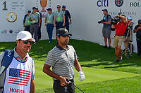 Anirban Lahiri (IND) departs the first tee during round 2 Four-Ball of the 2017 President's Cup, Liberty National Golf Club, Jersey City, New Jersey, USA. 9/29/2017.<br /> Picture: Golffile | Ken Murray<br /> <br /> All photo usage must carry mandatory copyright credit (&copy; Golffile | Ken Murray)