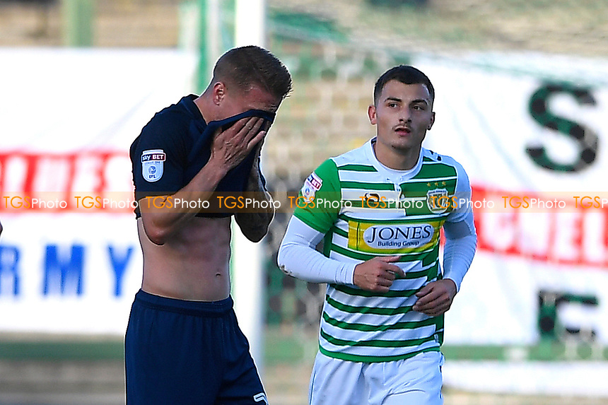 Otis Khan of Yeovil Town right walks back after converting his penalty as Jason Demetriou of Southend United covers his facef during Yeovil Town vs Southend United, Emirates FA Cup Football at Huish Park on 4th November 2017