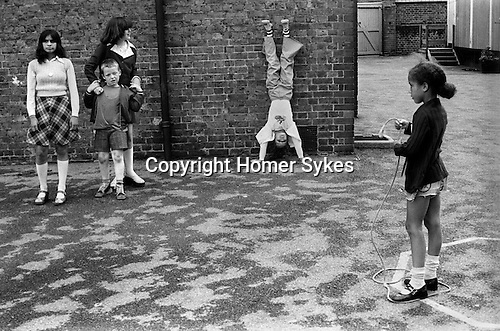 Primary school playground. South London. 1970s Britain...