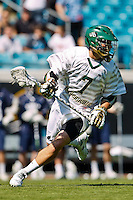 February 20, 2011:   Jacksonville Dolphins midfielder John Linnan (7) during Lacrosse action between the Georgetown Hoyas and Jacksonville Dolphins during the Moe's Southwest SunShine Classic played at EverBank Field in Jacksonville, Florida.  Georgetown defeated Jacksonville 14-11.