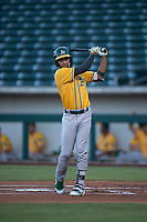 AZL Athletics shortstop Yerdel Vargas (2) takes a practice swing before an at bat during an Arizona League game against the AZL Cubs 1 at Sloan Park on June 28, 2018 in Mesa, Arizona. The AZL Athletics defeated the AZL Cubs 1 5-4. (Zachary Lucy/Four Seam Images)
