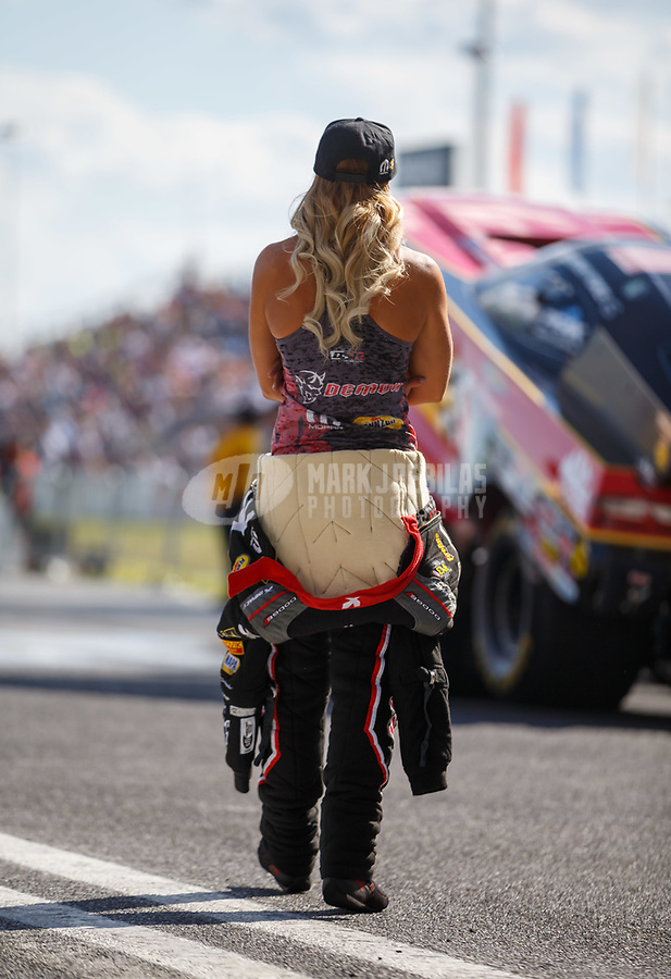 Jun 9, 2017; Englishtown , NJ, USA; NHRA top fuel driver Leah Pritchett during qualifying for the Summernationals at Old Bridge Township Raceway Park. Mandatory Credit: Mark J. Rebilas-USA TODAY Sports