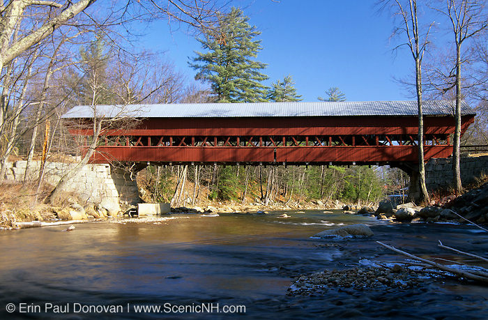 Swift River Covered Bridge in Conway, New Hampshire USA. This bridge crosses the Swift River.