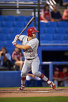 Palm Beach Cardinals outfielder Collin Radack (28) at bat during the second game of a doubleheader against the Dunedin Blue Jays on July 31, 2015 at Florida Auto Exchange Stadium in Dunedin, Florida.  Dunedin defeated Palm Beach 4-0.  (Mike Janes/Four Seam Images)