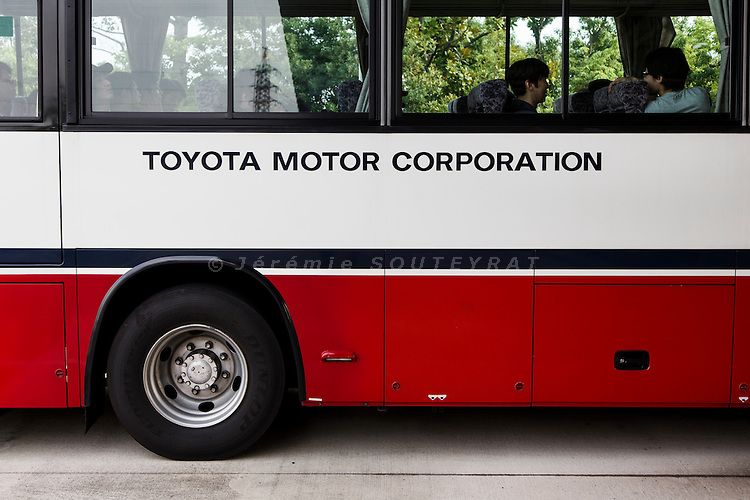 Toyota city, July 16 2014 - 4pm, workers living Toyota's Takaoka plant by bus to their dorms.