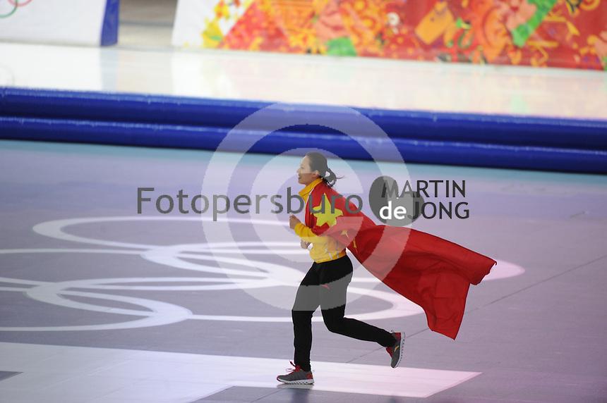 OLYMPICS: SOCHI: Adler Arena, 13-02-2014, 1000m Ladies, winner Hong Zhang (CHN), ©foto Martin de Jong