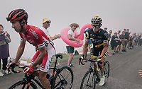 Thomas Voeckler (FRA/Direct Energie) &amp; Nicolas Edet (FRA/Cofidis) cheered up the Port de Bal&egrave;s (HC/1755m/11.7km/7.7%)<br /> <br /> 104th Tour de France 2017<br /> Stage 12 - Pau &rsaquo; Peyragudes (214km)
