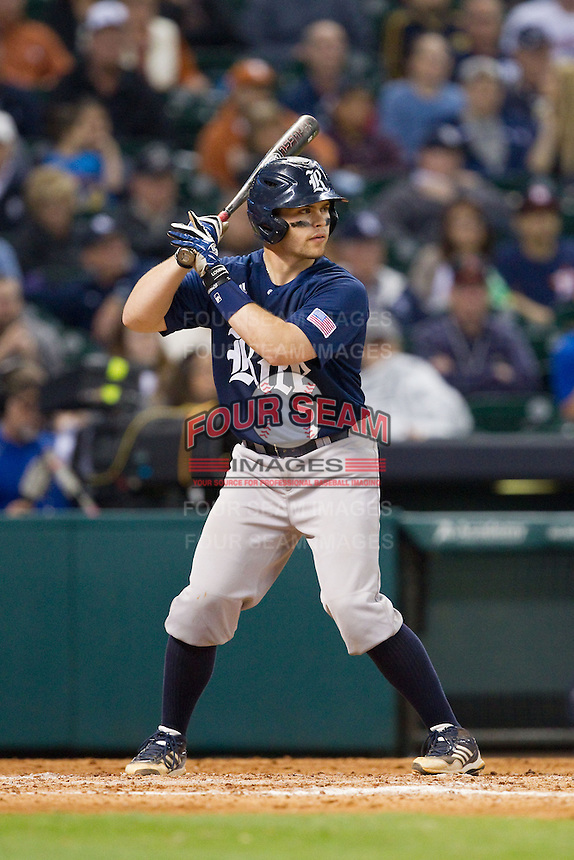 John Clay Reeves #7 of the Rice Owls at bat against the Texas Longhorns at Minute Maid Park on February 28, 2014 in Houston, Texas.  The Longhorns defeated the Owls 2-0.  (Brian Westerholt/Four Seam Images)