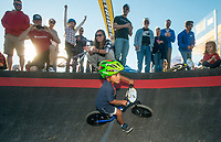 NWA Democrat-Gazette/BEN GOFF @NWABENGOFF<br /> Jesse McCourt, 3, of Springdale crosses the finish line to win the final of the age 3-4 race Wednesday, Oct. 10, 2018, during the Strider Bikes pump track races at The Jones Center's Runway Bike Park in Springdale. Children ages 3-6, divided into two age groups, raced head-to-head to see who was the fastest on the balance bikes designed to help young children learn how to ride. It was the first competetive event to use the new pump track that was built to host the Red Bull Pump Track World Championship Final coming up Saturday.