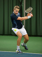 Rotterdam, The Netherlands, 07.03.2014. NOJK ,National Indoor Juniors Championships of 2014, 12and 16 years, Tom Moonen (NED)<br /> Photo:Tennisimages/Henk Koster