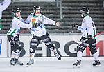 Uppsala 2014-01-12 Bandy  IK Sirius - GAIS Bandy :  <br />  GAIS Jacob Bucht har gjort 4-3 och jublar med GAIS Jimmy Jansson och GAIS Tobias Andersson <br /> (Foto: Kenta J&ouml;nsson) Nyckelord:  jubel gl&auml;dje lycka glad happy