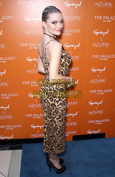 CAITLIN O'CONNOR .Beverly Hills Housewives Kim and Kyle Richards host season premiere of Azure Luxury Pool at The Palazzo Resort Hotel and Casino, Las Vegas, Nevada, USA, 10th April 2011..Full length leopard animal print dress brown side sleeveless .CAP/ADM/MJT.© MJT/AdMedia/Capital Pictures.