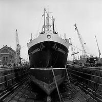 Scheepswerf Beliard Murdoch in Antwerpen.  Maart 1967.  Schip Transamerica.