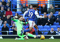 Preston North End's Chris Maxwell concedes a penalty after bringing down Ipswich Town's Jordan Roberts<br /> <br /> Photographer David Shipman/CameraSport<br /> <br /> The EFL Sky Bet Championship - Ipswich Town v Preston North End - Saturday 3rd November 2018 - Portman Road - Ipswich<br /> <br /> World Copyright &copy; 2018 CameraSport. All rights reserved. 43 Linden Ave. Countesthorpe. Leicester. England. LE8 5PG - Tel: +44 (0) 116 277 4147 - admin@camerasport.com - www.camerasport.com