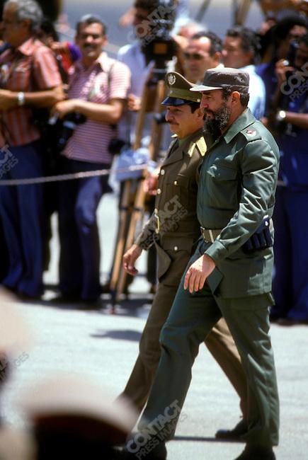 Fidel Castro, (right) President of Cuba, with Raul Castro, Minister of Defense. Cuba, September 1979.<br />