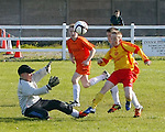 14/10/2012 Conor McDaid of Avenue United knocks the ball past Peter Zsiga of Coole FC in the ESB Moneypoint U-12 Cup Final at the County Ground on Sunday. Pic: Don Moloney/Press 22