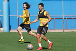 Getafe's Angel Rodriguez (r) and Marc Cucurella during training session. May 19,2020.(ALTERPHOTOS/Acero)