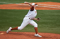 Texas Longhorns pitcher Parker French #24 delivers during the NCAA baseball game against the Texas A&M Aggies on April 28, 2012 at UFCU Disch-Falk Field in Austin, Texas. The Aggies beat the Longhorns 12-4. (Andrew Woolley / Four Seam Images)