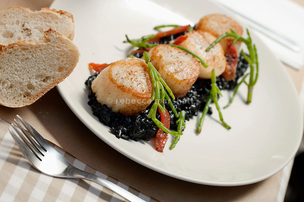Roasted scallops served with a fresh cuttlefish ink risotto prepared by chef Julien Minoche at restaurant 'La Morue', Montpellier, France, 13 July 2012