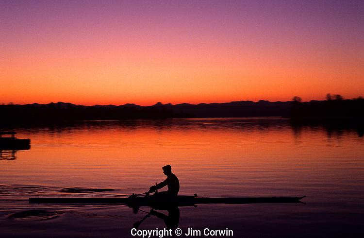 Crew rowing along Montlake Cut