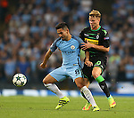 Ilkay Gundogan of Manchester City tussles with Nico Elvedi of Borussia Monchengladbach during the UEFA Champions League Group C match at The Etihad Stadium, Manchester. Picture date: September 14th, 2016. Pic Simon Bellis/Sportimage