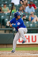 Las Vegas 51s shortstop Jonathan Diaz #6 at bat during the Pacific Coast League baseball game against the Round Rock Express on August 7th, 2012 at the Dell Diamond in Round Rock, Texas. The Express defeated the 51s 5-4. (Andrew Woolley/Four Seam Images).