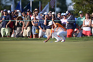 Gainesville, VA - August 2, 2015: Rickie Fowler lines up a putt on the 16th hole at the Robert Trent Jones Golf Club in Gainesville, VA. August 2, 2015.  (Photo by Philip Peters/Media Images International)