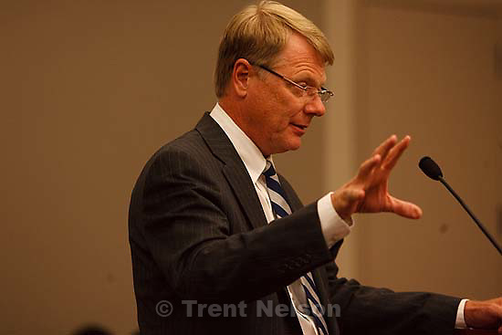 Salt Lake City - Rod Parker speaks at a hearing held in the Matheson Courthouse Wednesday, July 29, 2009 to decide on the sale of the Berry Knoll property in the United Effort Plan (UEP) land trust..