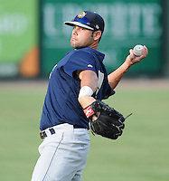 Outfielder Shane Brown (7) of the Charleston RiverDogs, Class A affiliate of the New York Yankees, prior to a game against the Greenville Drive on July 31, 2011, at Fluor Field at the West End in Greenville, South Carolina. (Tom Priddy/Four Seam Images)
