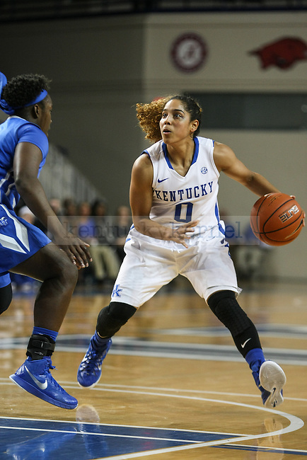 Kentucky point guard Jennifer O'Neill eyes the basket during the first half of the UK Hoops game against Middle Tennessee State at Memorial Coliseum  on Friday, December 12, 2014 in Lexington, Ky. UK leads Middle Tennessee 41-26. Photo by Adam Pennavaria | Staff