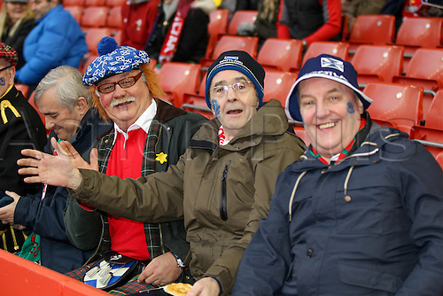 13.02.2016. Principality Stadium, Cardiff, Wales. RBS Six Nations Championships. Wales versus Scotland.  Scottish supporters enjoying the pre-match entertainment.