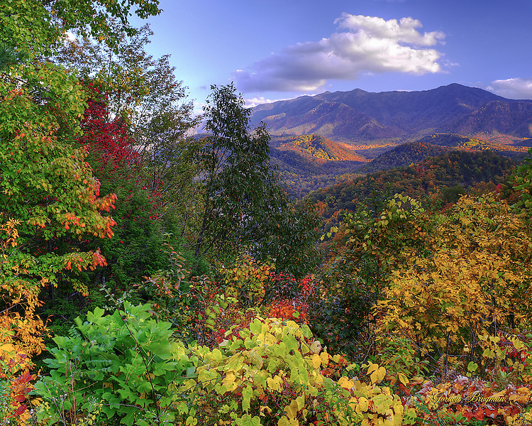 The Smoky Mountains in Fall, as seen from the scenic overlook above Gatlinburg, Tennessee. 3-exposure HDR