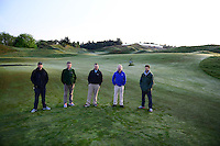 L-R. Assistant Superintendent Mark Trenter, Director of Egronomy Eric Johnson, Superintendent Josh Lewis, Equipment Manager Jerry Holcomb, and Assistant Superintendent Michael Krouse. Chambers Bay Golf Course in University Place, Washington will host the 2015 U.S. Open in June 2015. Photo by Daniel Berman for Golf Course Management Magazine.