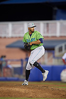 Lynchburg Hillcats relief pitcher Dalbert Siri (45) delivers a pitch during a game against the Salem Red Sox on May 10, 2018 at Haley Toyota Field in Salem, Virginia.  Lynchburg defeated Salem 11-5.  (Mike Janes/Four Seam Images)