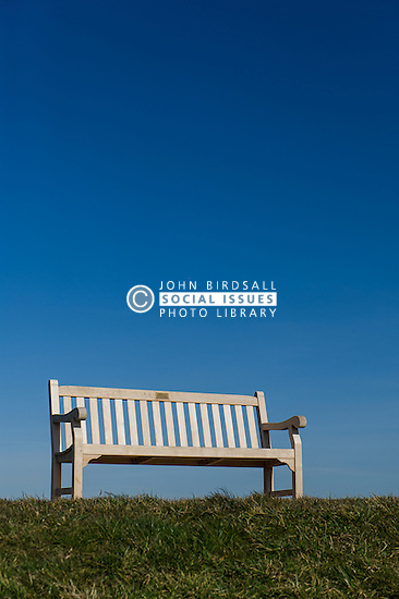 An empty wooden bench.