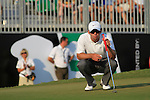 Paul Casey lines up his putt on the 18th green to finish his round during the Final Day of the Dubai World Championship, Earth Course, Jumeirah Golf Estates, Dubai, 28th November 2010..(Picture Eoin Clarke/www.golffile.ie)