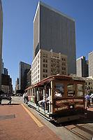 Cable Car in financial district, San Franciso, California